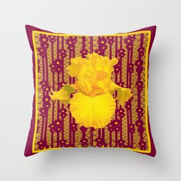 Burgundy Color Yellow Iris Deco Pattern Art Throw Pillow
