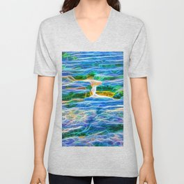 Abstract rock pool in the rough rocks in Queensland Unisex V-Neck