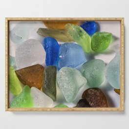 Colorful New England Beach Glass Serving Tray