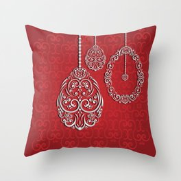 Silver lace hanging eggs on vibrant red background Throw Pillow