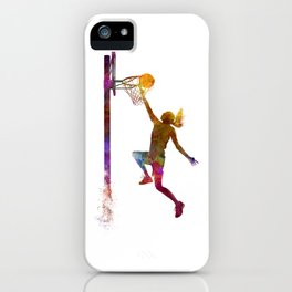 Young woman basketball player 04 in watercolor iPhone Case