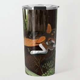Totem Red Wolf in the forest Travel Mug