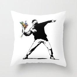 Banksy Flowers Flower thrower Throw Pillow