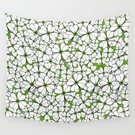 Line art - Clover : Green Wall Tapestry