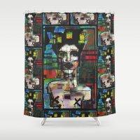ariana grande Shower Curtains featuring Grande gueule by brett66