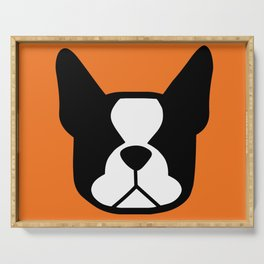 Boston Terrier - bold and moden in orange Serving Tray
