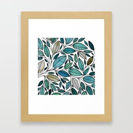 Leaf Illustration - Blue Green - P07 010 Framed Art Print