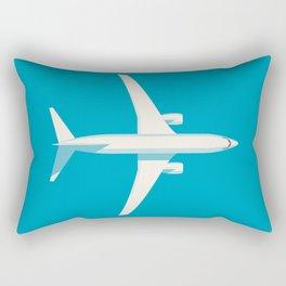 737 Passenger Jet Airliner Aircraft - Cyan Rectangular Pillow