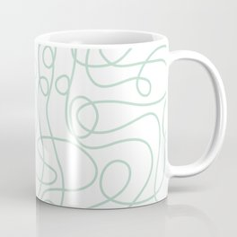 Doodle Line Art | Mint Green Lines on White Background Coffee Mug