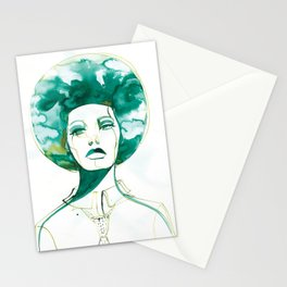 Green Afro Queen Stationery Cards