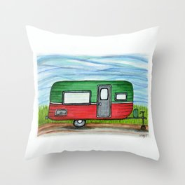 Watermelon Camper Trailer Throw Pillow