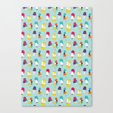 Ice cream pattern - light blue Canvas Print