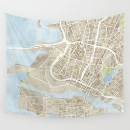 Oakland California Watercolor Map Wall Tapestry