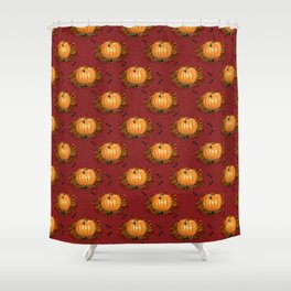 Pumpkin with Heart Leaves Harvest Fall Pattern Red Shower Curtain