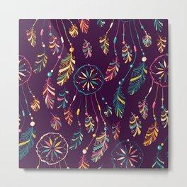 Bohemian Purple Dream Catcher Pattern Metal Print