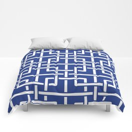Tangled squares Chinoiserie in blue & white Comforters