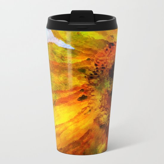 Sunflower on colorful watercolor background- Flowers on #Society6 Metal Travel Mug