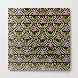 Butterfly and Flower Pattern Metal Print