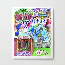 St. Louis Skyline Watercolor Metal Print