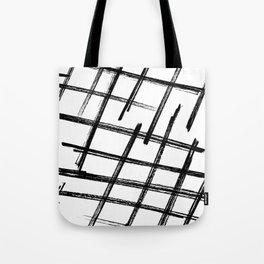 Criss Cross B+W Print Tote Bag