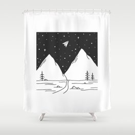 """""""Fly Away"""" - Paper Plane Landscape Shower Curtain"""