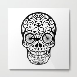 Vintage Mexican Skull with Bicycle - black and white Metal Print