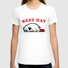 Rest Day Pug Womens Fitted Tee White SMALL