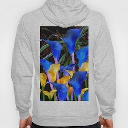 BLACK MODERN ABSTRACT BLUE & GOLD CALLA LILIES Hoody