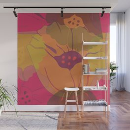 Colourful pink, yellow, orange poppies in transparent layers. Wall Mural