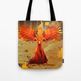fire elemental fantasy winged creature on wastelands Tote Bag