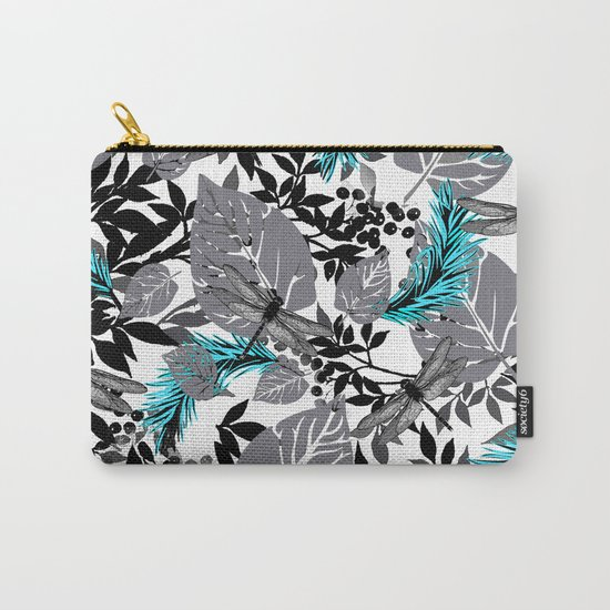 PALM LEAF DRAGONFLY BLUE FERN TOILE Carry-All Pouch