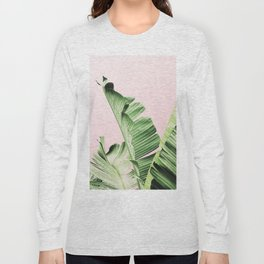 Banana Leaf on pink Long Sleeve T-shirt