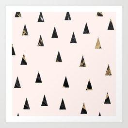 Elegant pink black gold abstract geometrical triangles marble Art Print