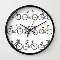 bicycles Wall Clocks featuring Bicycles by Bianca_CS