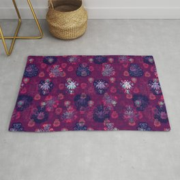Lotus flower - wine red woodblock print style pattern Rug