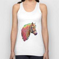 pony Tank Tops featuring Rainbow Pony. by HelenMacNee