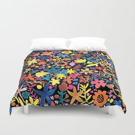 Autumm´s flowers and black Duvet Cover