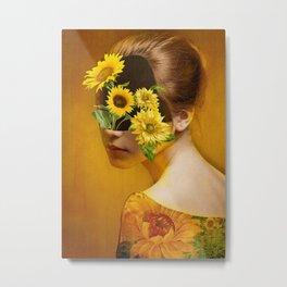 Sunflower Lady Metal Print