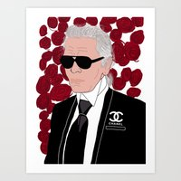 karl lagerfeld Art Prints featuring Karl Lagerfeld by Stephanie Jett