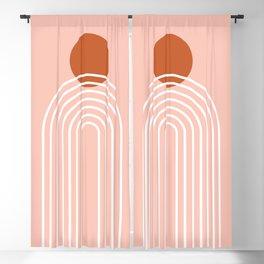 Mid Century Modern Geometric 38 in Terracotta Rose Gold (Rainbow Sun Abstraction) Blackout Curtain