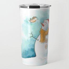 A snowman and a little bird Travel Mug