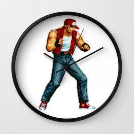 Terry Bogard pixel art Retrogaming Mine Craft Style Wall Clock