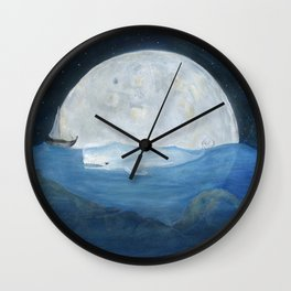 The whale and the Moon Wall Clock