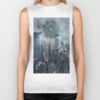 sci fi Biker Tanks featuring Sci-Fi City by Michael Lenehan