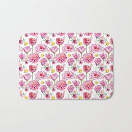 Hand painted blush pink yellow watercolor roses Bath Mat