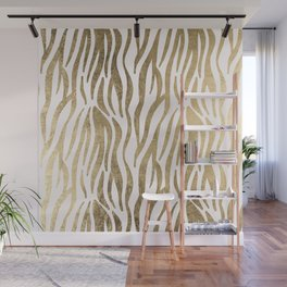Chic faux gold white modern zebra animal print pattern Wall Mural