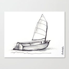 Sailboat, pen and ink Canvas Print