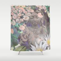 budi satria kwan Shower Curtains featuring Reflections - Zen Garden Kwan Yin Goddess Art by Fusion Idol