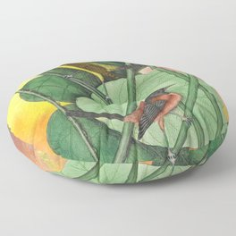 Orioles with Catalpa Tree, Natural History, Vintage Botanical Collage Floor Pillow