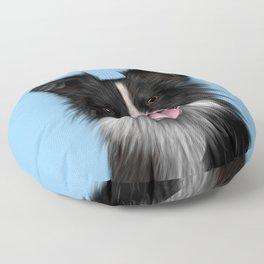 Border Collie Sheepdog on Blue Floor Pillow